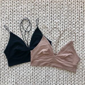Black and Tan Y-Neck Bralette Tops